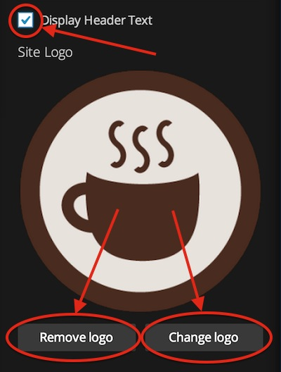 Remove or change your logo with the buttons at the bottom. Hide your site title with the checkbox up top.