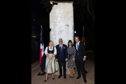 <h5>Thanks German Embassy</h5><p>Foreign Minister of the Dominican Republic Miguel Vargas and German Embassador Volker Pellet with their wives during the commemoration ceremony © German Embassy                                                                                                                                                         </p>