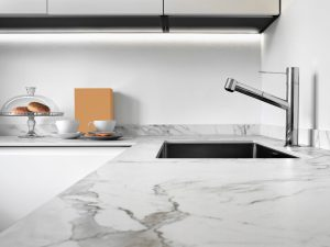 white calacatta marble kitchen countertop