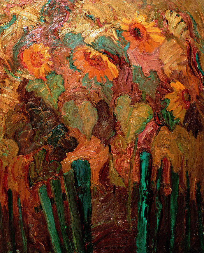 Mykola Nedilko - Sunflowers. Oil, 24 x 20, 1976.