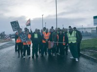 Polmadie Refuse workers showing solidarity with marchers
