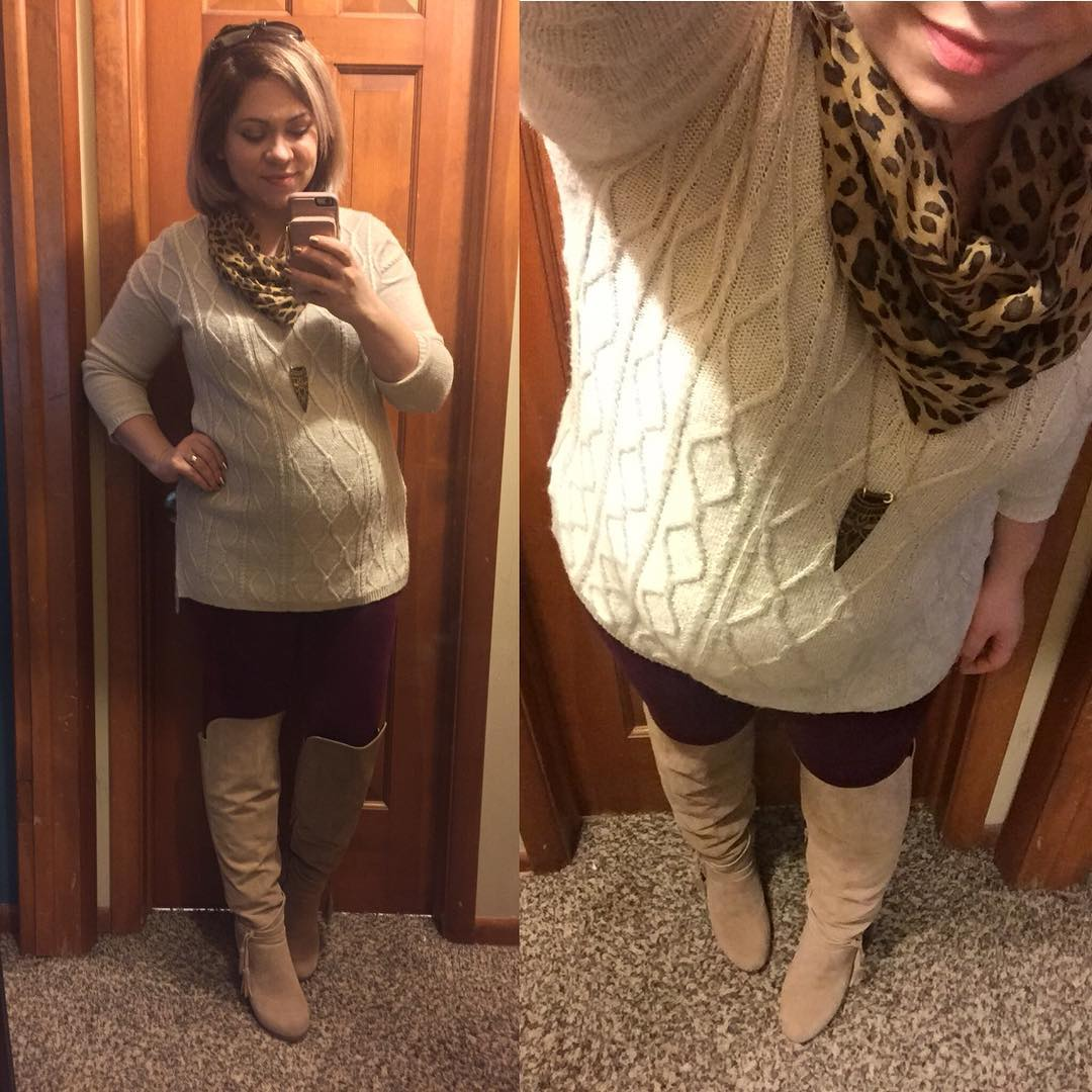 OOTD for almost 28 weeks! OTK boots from JustFab, velvety leggings from Walmart, Jessica Simpson maternity sweater, one of my necklaces via @rococoriche, and a cute animal print scarf from Walmart last year