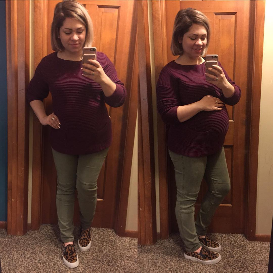 OOTD with a thrifted Vince Camuto sweater and Liverpool maternity jeans from @stitchfix