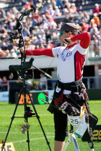 TORONTO, ON, AUGUST 9, 2015. Archery events at the ParaPan Am Games - Karen Van Nest. Photo: Dan Galbraith/Canadian Paralympic Committee
