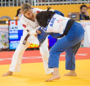 WHITBY, ON, AUGUST 11, 2015. Judo at the Abilities Centre - Canadians Priscilla Gagne (-52KG/B1) wins a silver medal.  Photo: Dan Galbraith/Canadian Paralympic Committee