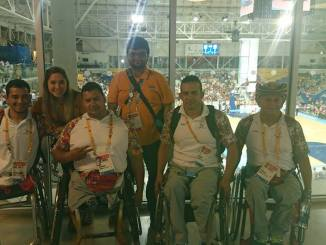 Rayyan with Columbia athletes at Parapan Am Games