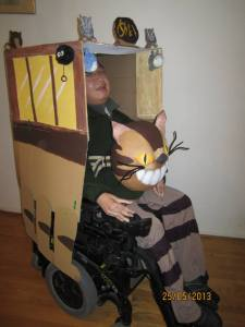 Torrance in Cat Bus costume