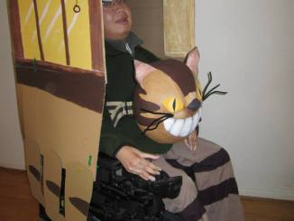 Torrance in Cat Bus costume