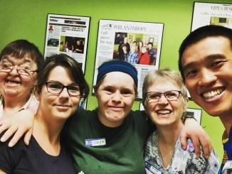 Photo with the L'Arche Tova Cafe team in Winnipeg