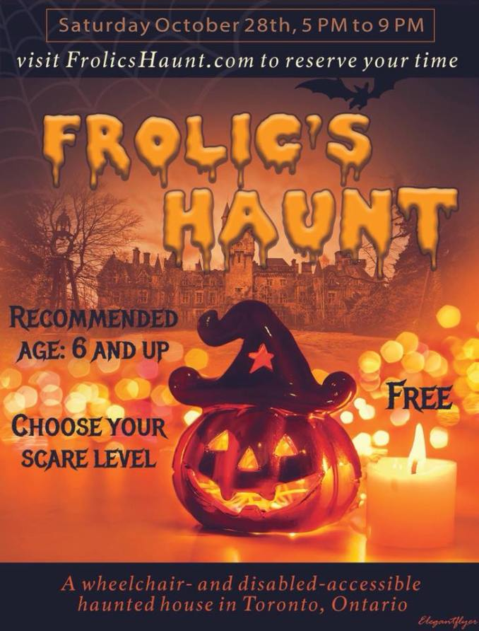 Poster with details to the 2018 Frolic's Haunt in the foreground is a jack 'o lantern with a wizards hat and in the background candles and a haunted house
