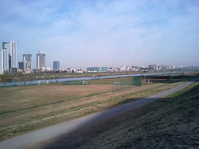 朝の多摩川沿い