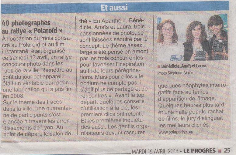 Le Progrès - Article presse Rallye polaroid - avril 2013