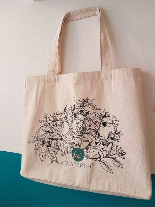 Cabas sérigraphié en coton biologique - en aparthé Lyon - Boutique en ligne