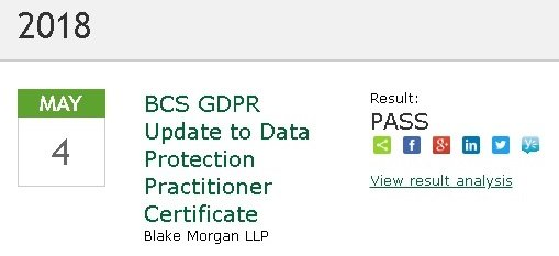 BCS Certificate Upgrade to GDPR