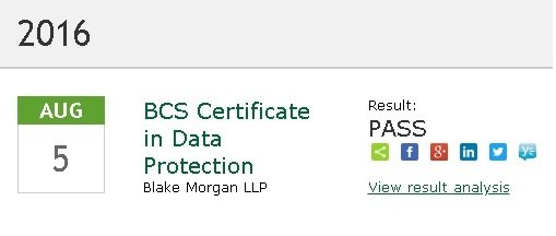 BCS Certificate in Data Protection