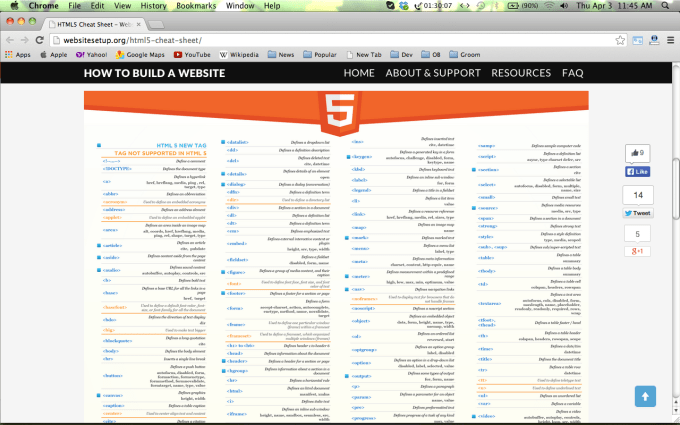 Collection of HTML5 /CSS3/Javascript Cheat Sheets for Web Designers 28