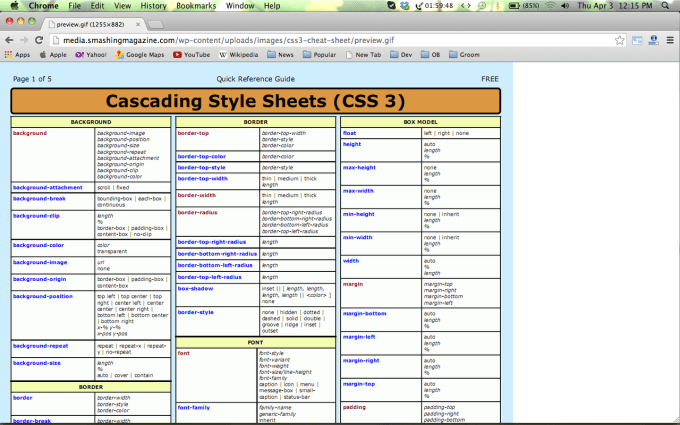 Collection of HTML5 /CSS3/Javascript Cheat Sheets for Web Designers 32