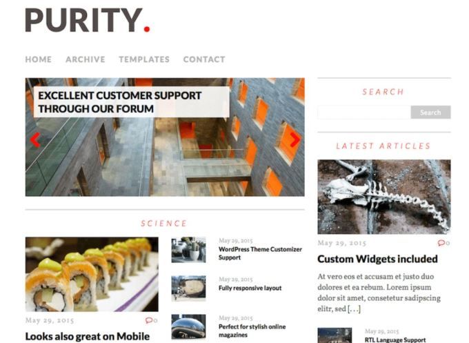 Purity lite- free wordpress magazine theme