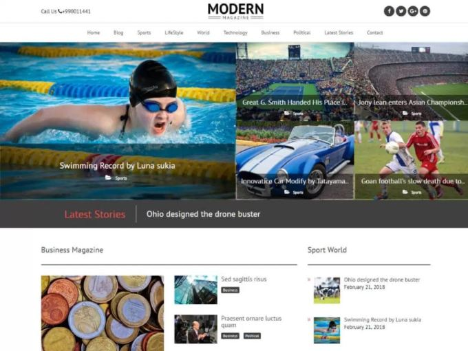 Modern Magazine Free Responsive WordPress Theme