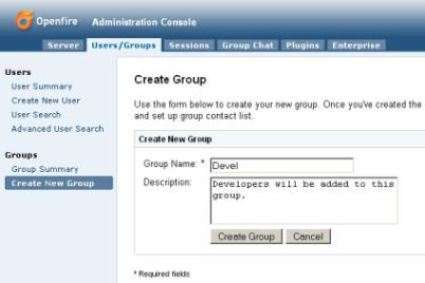 Openfire: Administration Console 'Create Group' Screen