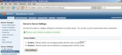 Openfire: Administration Console 'Server to Server' Screen