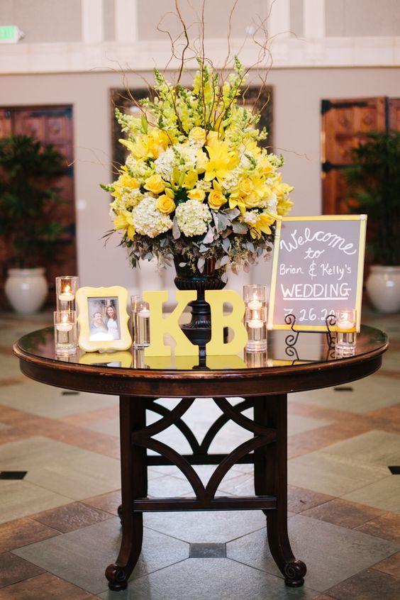 ideas para una boda azul y amarillo