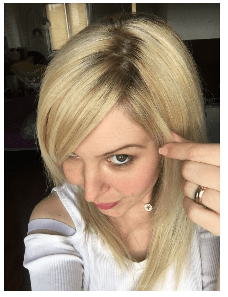 mon ombré hair, repousse des racines et cheveux blancs. %