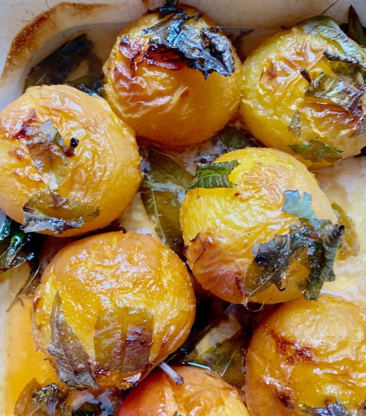recette prunes rôties miel verveine