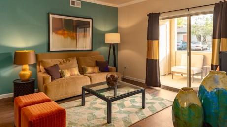 Lving Room with Wood like flooring