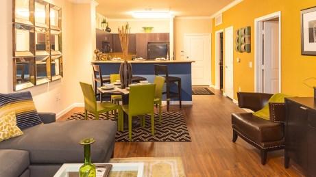 Open floorplans with wood like flooring