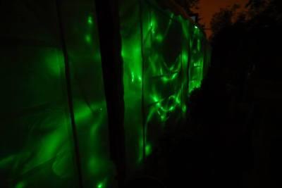 enchanted cinema halloween screening - fiber optic light installation cambridge blue marquee