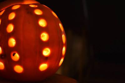 enchanted cinema halloween screenings -pumpkin art