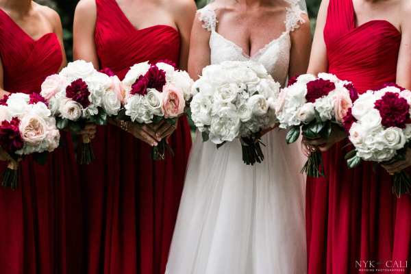 Red White and Blush Wedding Flowers by Enchanted Florist TN