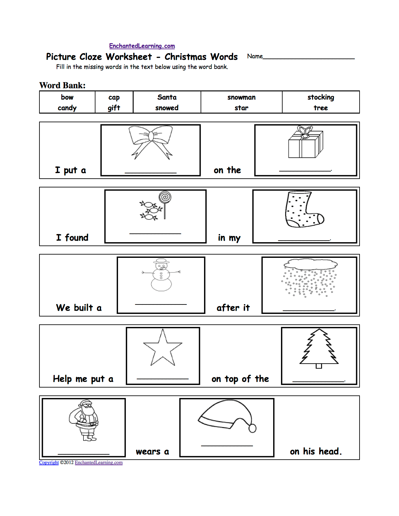 Picture Cloze Worksheets