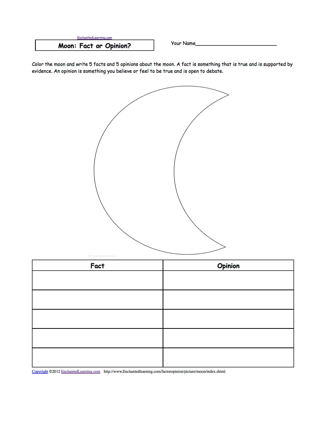 The Moon K 3 Theme Page At Enchantedlearning