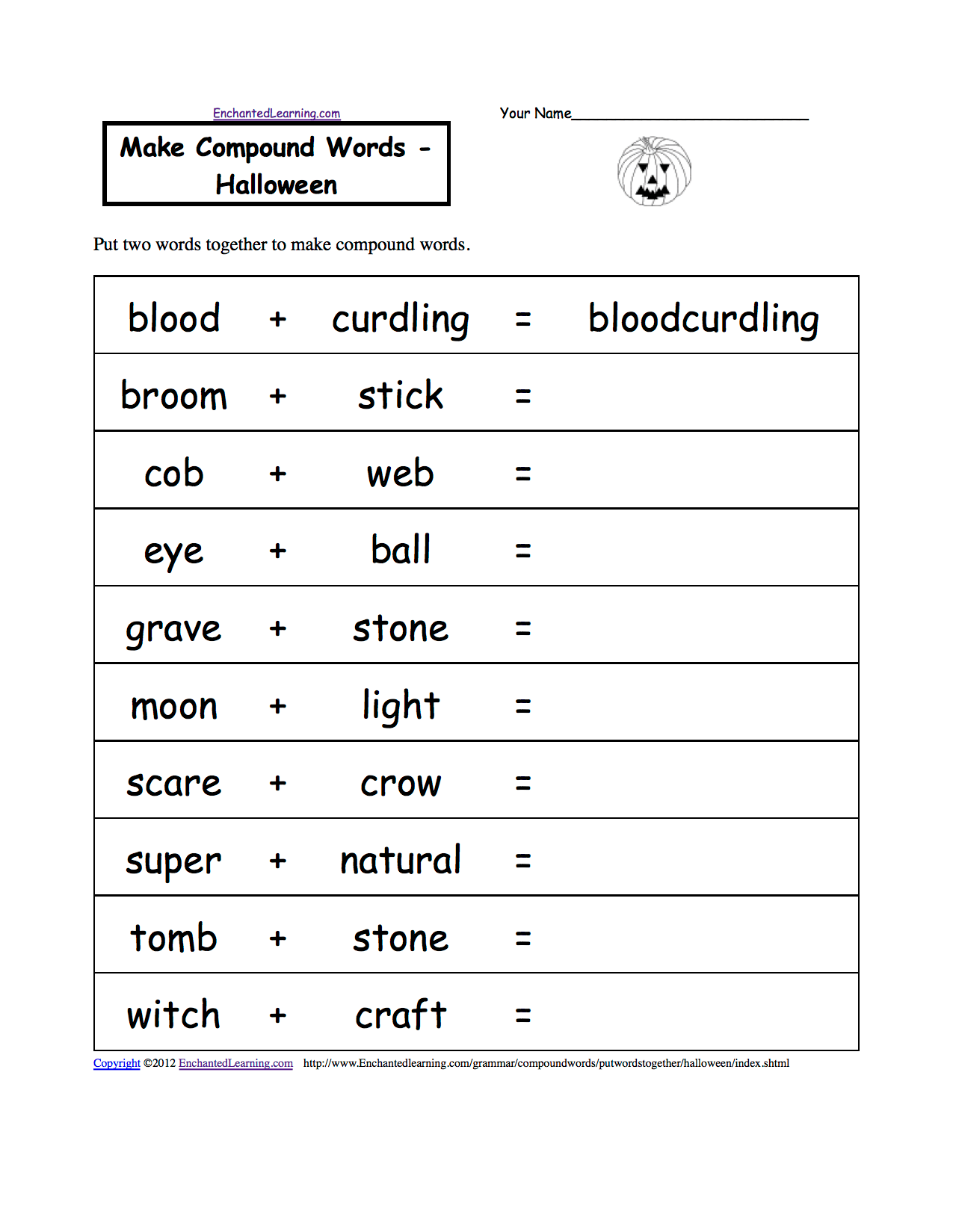 Halloween Activities Spelling Worksheets