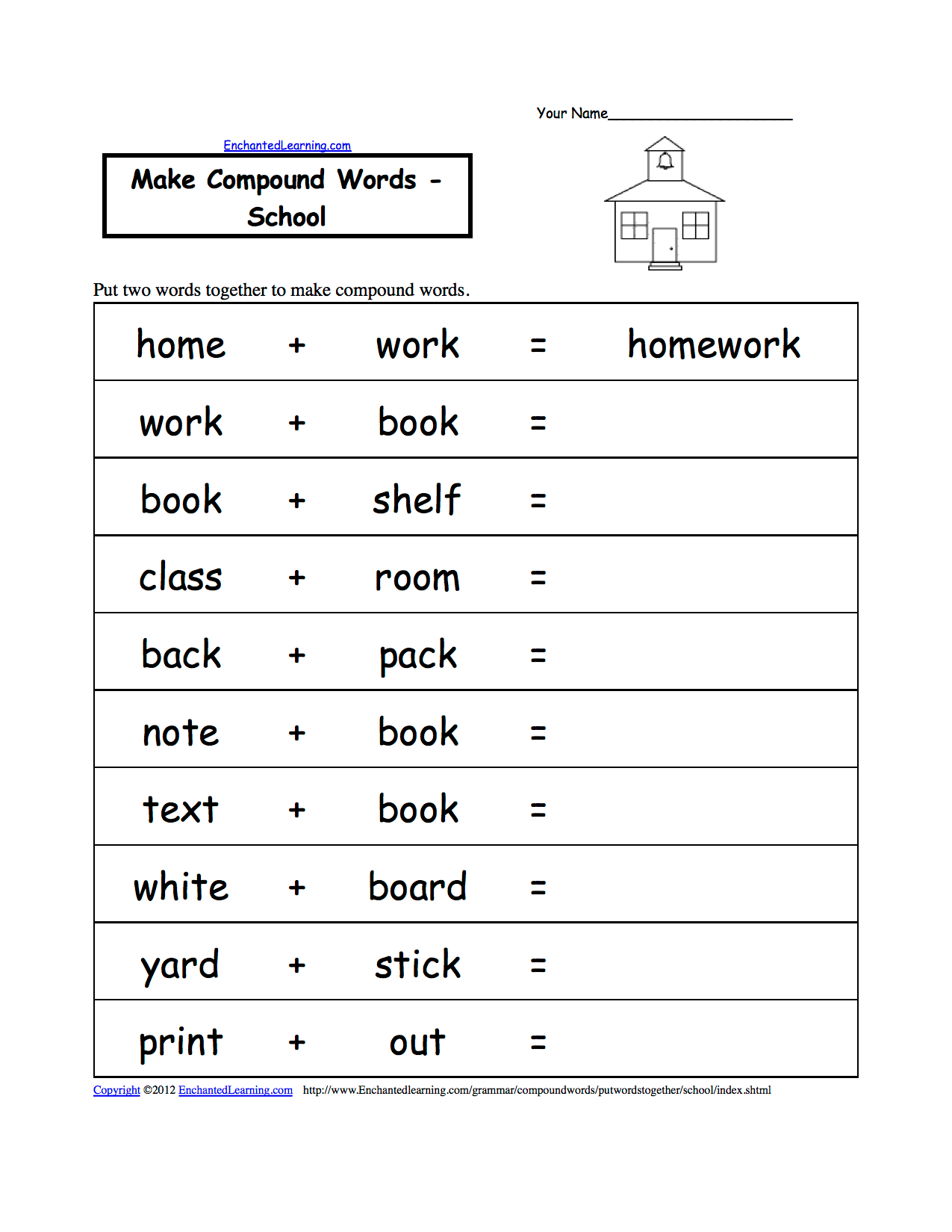 Spelling Worksheets School Theme Page At Enchantedlearning