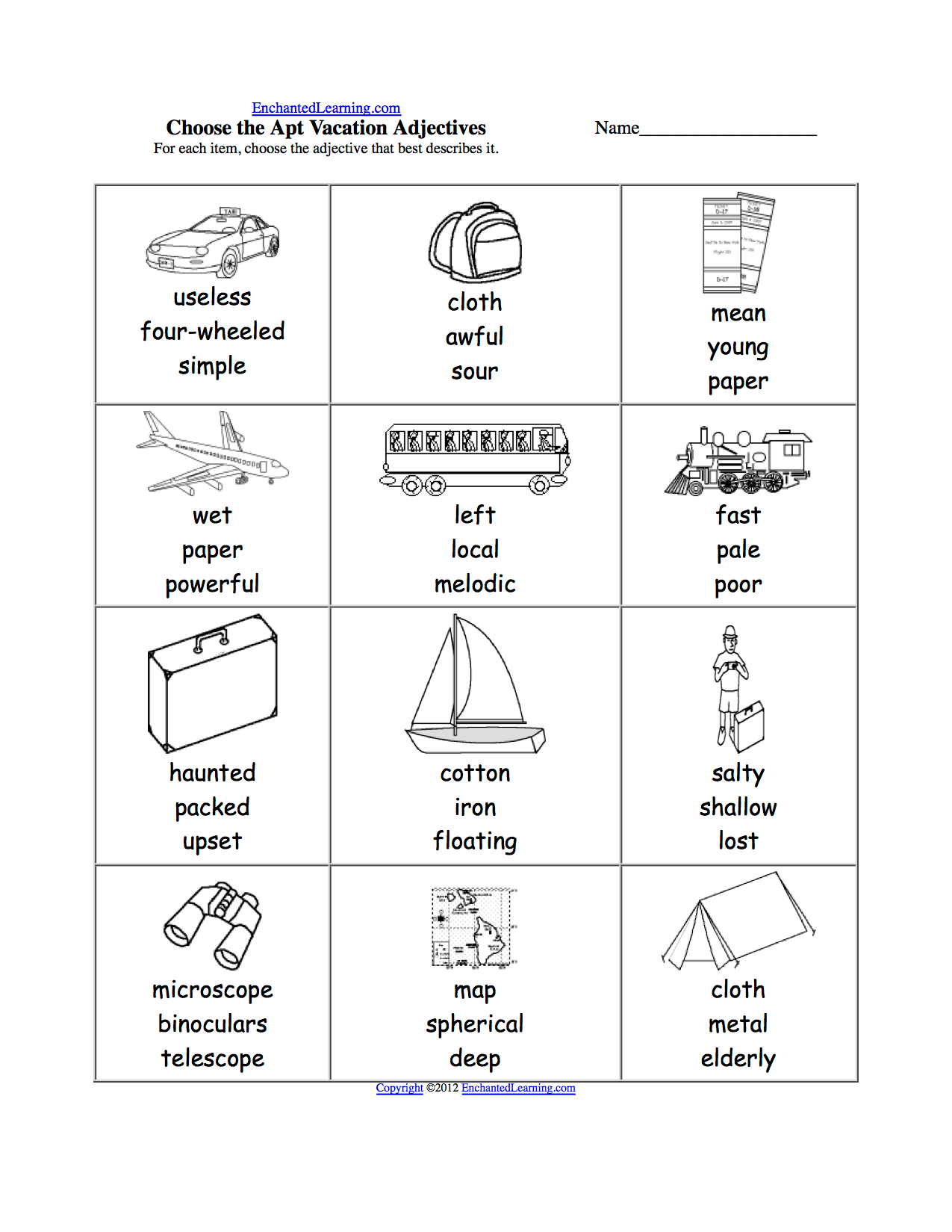 Pick The Apt Adjective Worksheets To Print