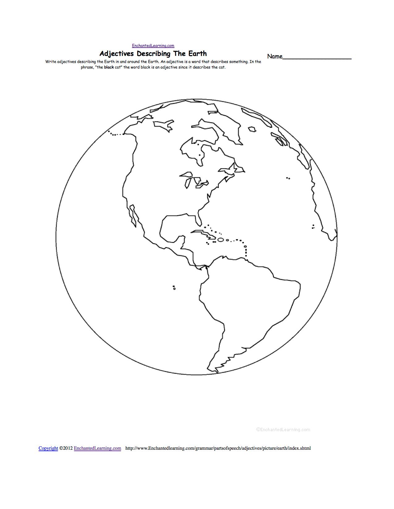 Map And Globe Worksheet Kindergarten Sketch Coloring Page