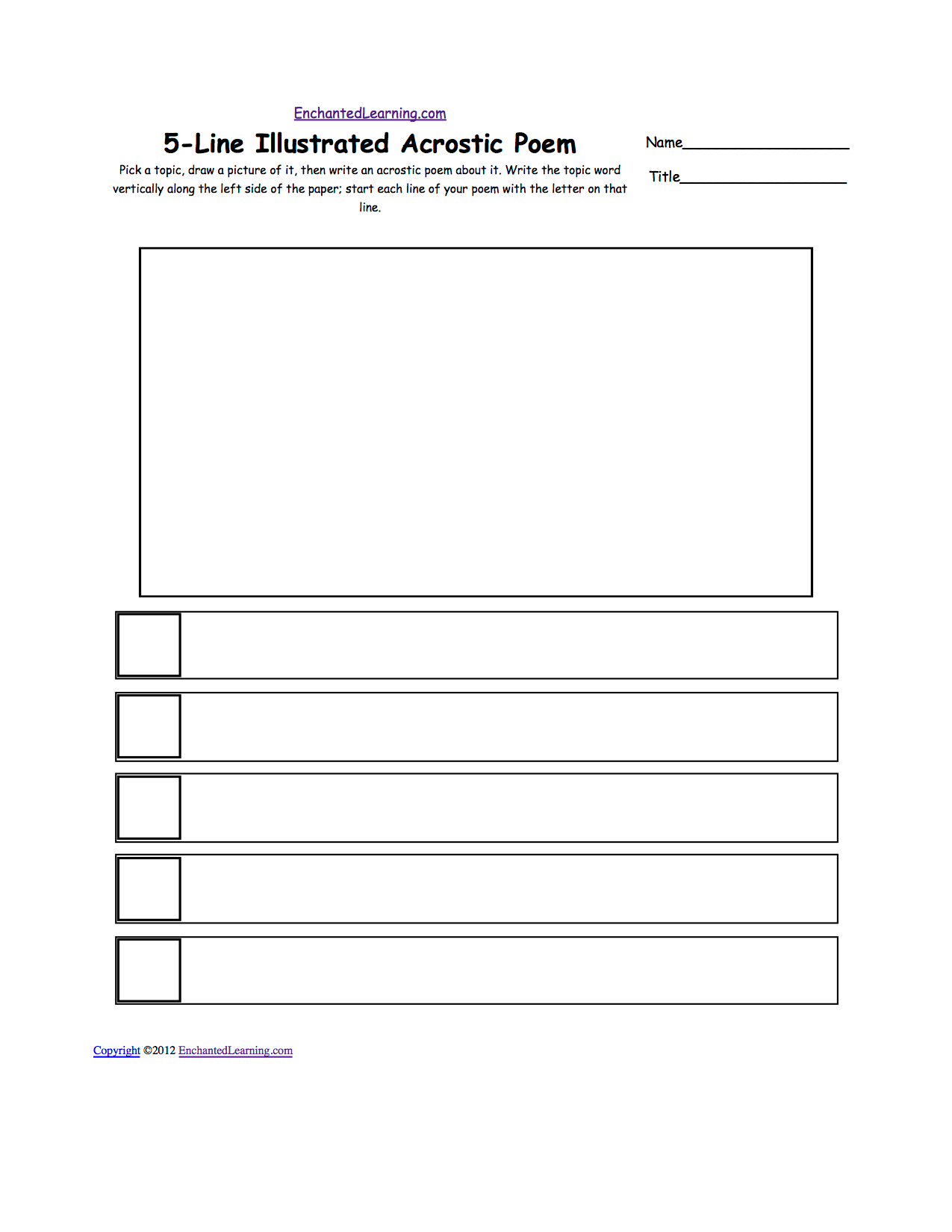 Blank Illustrated Acrostic Poem Worksheets Worksheet Printout