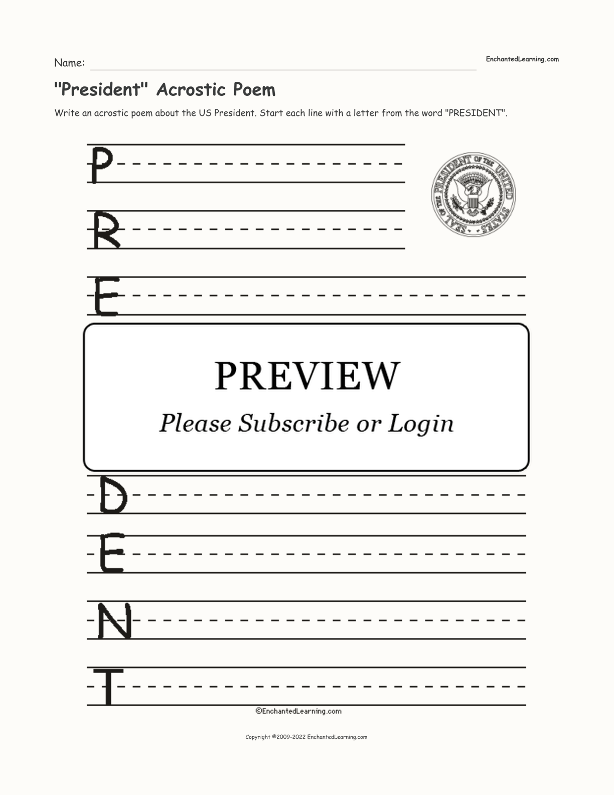 President Acrostic Poem