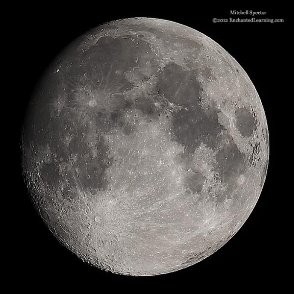 Waxing Gibbous Moon, 96% Illuminated - EnchantedLearning.com