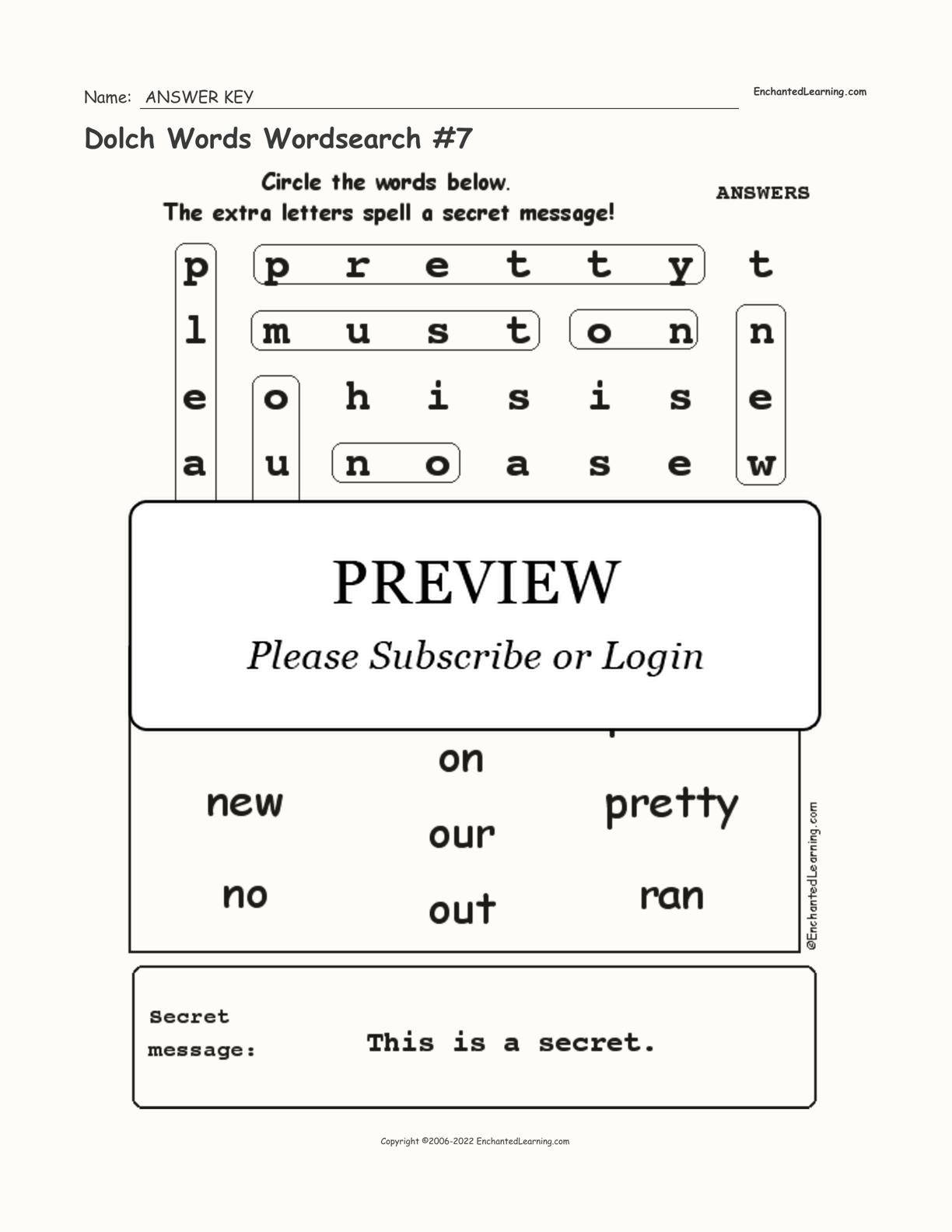 Dolch Words Wordsearch 7