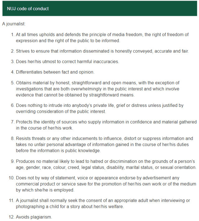 National Union Of Journalist Code of Conduct