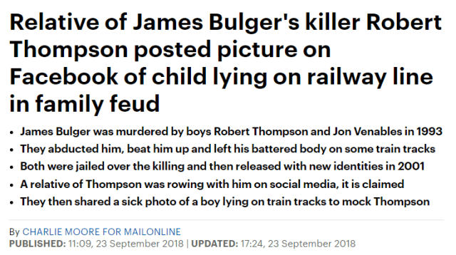 Relative of James Bulger's killer Robert Thompson posted picture on Facebook of child lying on railway line in family feud