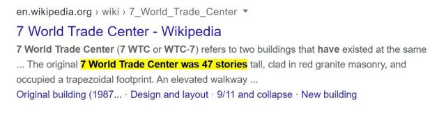 7 World Trade Center (7 WTC or WTC-7) refers to two buildings that have existed at the same ... The original 7 World Trade Center was 47 stories tall, clad in red granite masonry, and occupied a trapezoidal footprint. Pablo Hasel decoded