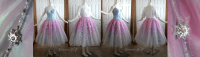 This commission is being done in two parts so I thought I'd post photos of the first piece! Here's the Star Princess skirt, modeled after the European versions. Layer upon layer of blue tulle and netting is topped with a shiny iridescent sheer, a pale pink ombre, and a clear tulle layer with stars. The stars were hand-sculpted, molded, cast, painted, and decorated with glass crystal especially for this project! I plan on taking more photos of the skirt in different lighting since it transforms a bit, much like my Ariel dress!