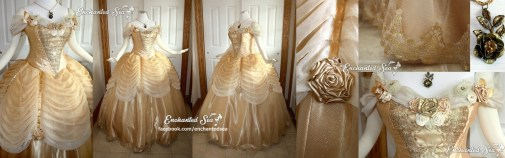 My twist on Belle's classic ballgown. Ombre is my favorite technique, so I wanted to include it here. It's most prominent in the pleated georgette swags, and there's a slight airbrushed ombre in the middle panel of the bodice. Tulle, georgette, and hand-made ribbon flowers adorned with pearls and gems decorate the neckline. An ornate, metallic gold lace decorates the middle bodice and the hem of the tulle layer of the skirt. Each swag is pleated onto a gold satin ribbon ending in gold roses. An antiqued golden bronze necklace completes the look.