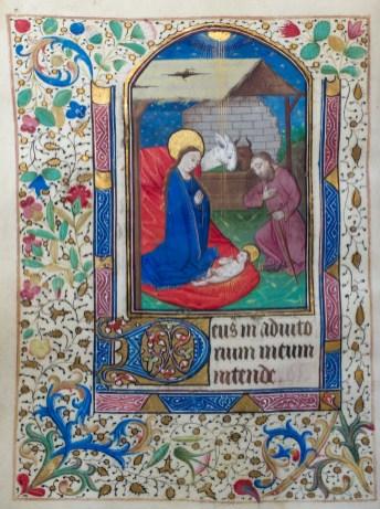 325. Livre d'heures manuscrit sur vélin, 14 enluminures. La Nativité.