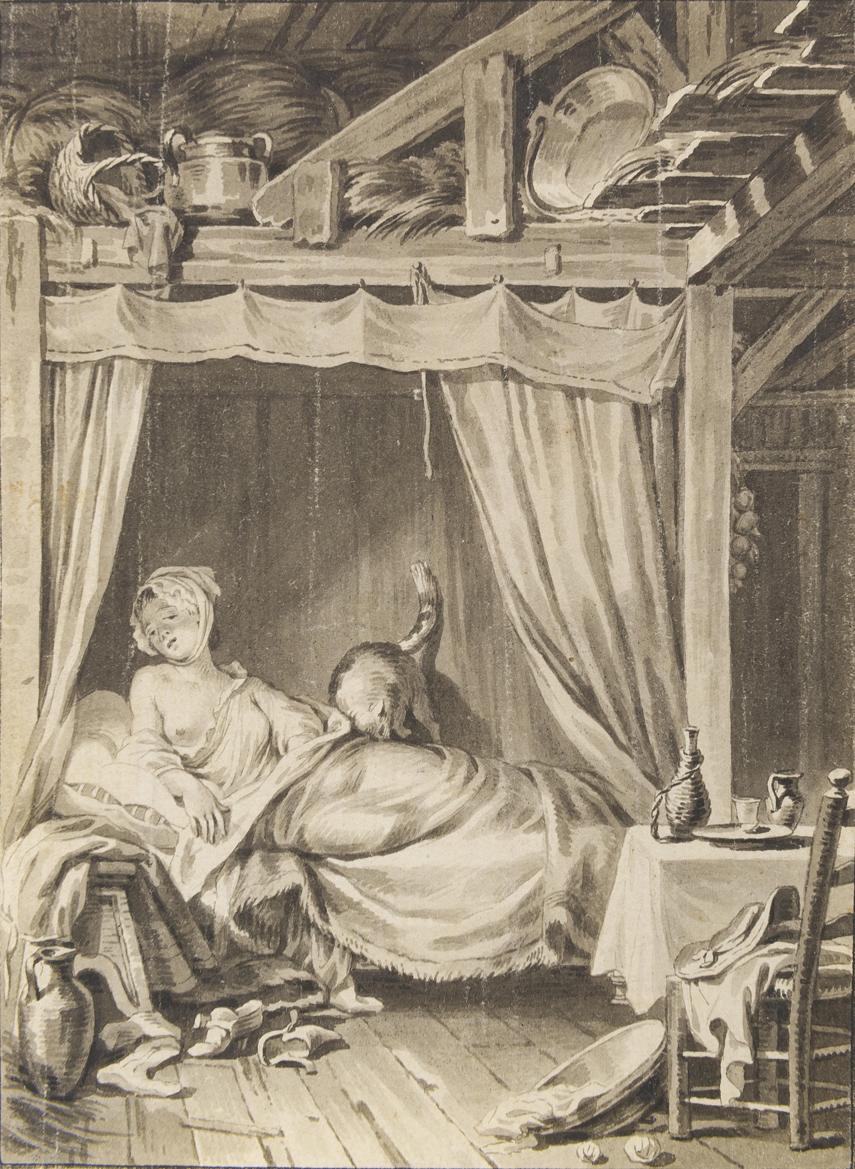 34. Lavis d'une des illustrations de LABORDE. Choix de chansons. Paris, de Lormel, 1773.